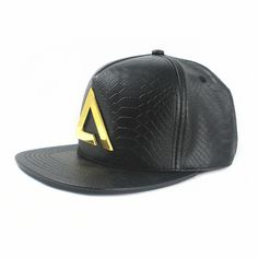 leather snapback cap and hat with metal logo