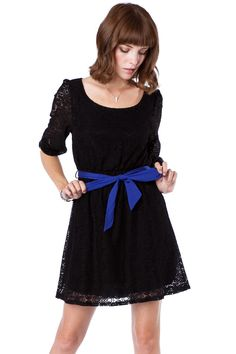 Knotted Lace Cinch Dress in Black / ShopSosie #lace #dress #shopsosie