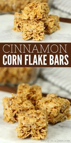 No bake cinnamon corn flake cereal bars recipe. They are absolutely delicious! Once you know how to make cornflake bars, they are so simple. Kid's go crazy over Cinnamon corn flake bars recipe! Corn Recipes, Cereal Recipes, Gourmet Recipes, Baking Recipes, Snack Recipes, Dessert Recipes, Recipes With Corn Flakes, Corn Flake Bars, Corn Flake Candy Recipe