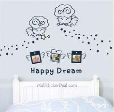 Happy Dream Angel Kid Wall Sticker Flower Wall Decals, Kids Wall Decals, Nursery Wall Decals, Wall Stickers, Angel Kids, Decorate Your Room, Beautiful Wall, Kids House, Beautiful Children