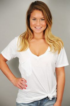 TOPS > Tees > White Soft Washed Cotton Pocket V-Neck