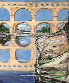 Sir Winston Churchill's dramatic brushstroke work and vibrant color palette bring to life this ancient landmark, Pont du Gard Scene, circa 1930 ~ M.S. Rau Antiques