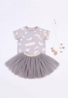 Bloesem x Le Petit Society Tee Dress in Grey