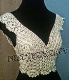 Fabulous Crochet a Little Black Crochet Dress Ideas. Georgeous Crochet a Little Black Crochet Dress Ideas. Gilet Crochet, Crochet Bra, Crochet Halter Tops, Crochet Shirt, Crochet Crop Top, Irish Crochet, Crochet Crafts, Crochet Clothes, Blanket Crochet