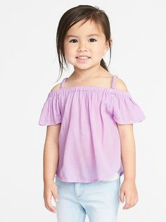 Off-the-Shoulder Crinkle-Gauze Top for Toddler Girls