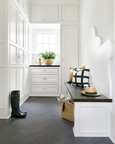 Beautiful details in an understated space...mudroom by Bria Hammel Design