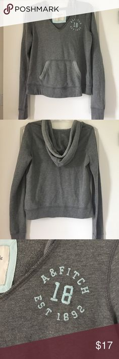 Abercrombie & Fitch Gray V Neck Hoodie Sweatshirt Really comfortable sweatshirt hoodie from A&F Abercrombie & Fitch Tops Sweatshirts & Hoodies
