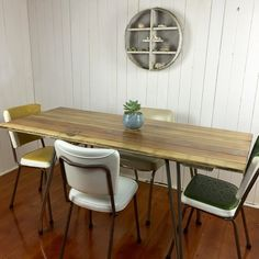 Upcycled Door Table With Fifties Chrome Legatching Formica