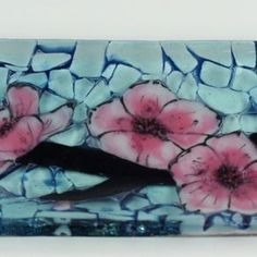 Cherry Blossom C- Fused Glass Channel Plate by Michelle  Rial