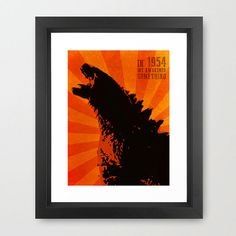Godzilla poster- In we awakened something - Kaiju Digital Art Poster Minimalist Print Wall Prints, Poster Prints, Monster Pictures, Contemporary Wall Decor, Thing 1, Art Google, Awakening, Digital Art, Retro