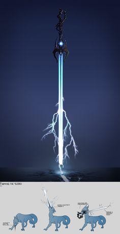Azra Lakota - Weapon - Lightning Sword Fantasy Sword, Fantasy Armor, Fantasy Weapons, Dark Fantasy, Ninja Weapons, Anime Weapons, Sword Drawing, Sword Art, Armor Concept
