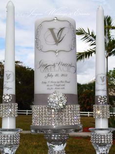 Rhinestone Pure Diamonds Unity candle set........holders included on Etsy, $106.32 AUD