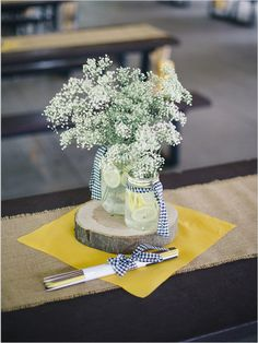 baby's breath    floral arrangement   centerpiece   navy and yellow wedding   #weddingchicks