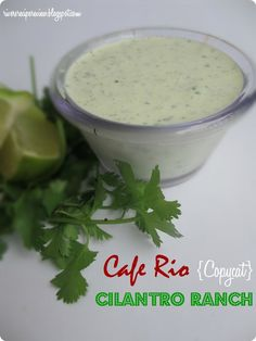 Cafe Rio {Copycat} Cilantro Ranch Dressing. This tastes EXACTLY like Cafe Rio's! It was awesome over my pork salad!!