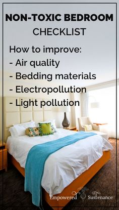 Tips for detoxing your bedroom - good to know! Includes suggestions for non-toxic bedding, air purifiers, etc.