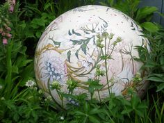 One of the hand-painted Moorcroft globes.
