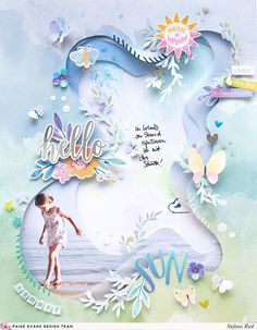 Hello Summer Layout by Stefanie Ried (Paige Taylor Evans) - Modern Baby Scrapbook, Scrapbook Paper Crafts, Scrapbook Cards, Vacation Scrapbook, Calendar Pages, Scrapbook Page Layouts, Photo Layouts, All Paper, Hello Summer