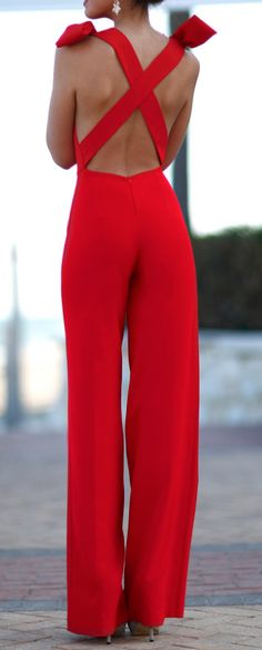 Lady in RED...Criss Cross Jumpsuit