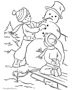 Printable Christmas coloring pages - Snowman!