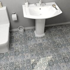 Merola Tile Faenza Azul 13 in. Ceramic Floor and Wall Tile sq. / case) FPEFAEA at The Home Depot - Mobile Bathroom Floor Tiles, Wall Tiles, Tile Floor, Ideas Hogar, Decorative Tile, Wall Patterns, Floor Patterns, Stone Tiles, Glass Tiles