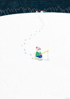 얼음 위에 조그마한 구멍을 내고 물고기를 기다리며잡다한 생각들을 정리하는 쉬는 시간.   instagram : ckttkafacebook : 차쌈