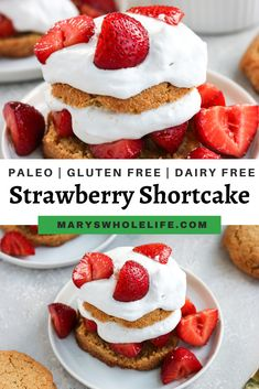 This Paleo Strawberry Shortcake is a healthier version of the classic summer dessert. It is gluten free, dairy free, and grain free! Almond flour biscuits are filled with a sweetened strawberry mixture and topped with coconut whipped cream. #paleo #paleodesserts #paleorecipes #refinedsugarfree #glutenfree #grainfree #strawberryshortcake #healthierstrawberryshortcake #summerdesserts #summerrecipes #dairyfree Paleo Cake Recipes, Paleo Sweets, Paleo Dessert, Healthy Desserts, Baking Recipes, Delicious Desserts, Dessert Recipes, Dinner Recipes, Dessert Ideas