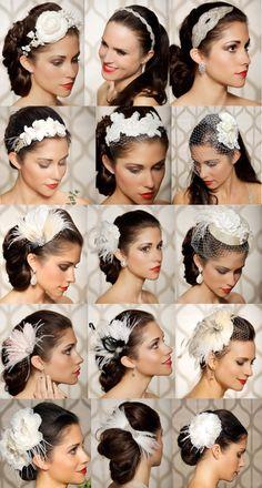 Un tocado,un estilo. Novia o invitada, un complemento muy interesante para sumar a tu recogido, tienes un montón de opciones! Ideas para bodas.