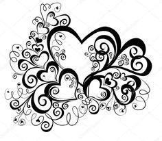 Herz mit floralen Ornament, Element für Design, Vektor-Bild