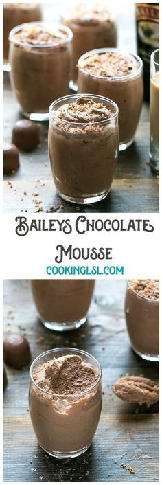 Easy Baileys Chocolate Mousse Recipe - a boozy dessert for chocolate lovers. No bake sweet treat. Made with Baileys Irish Cream. Just in time for St Patrick's Day! via @cookinglsl