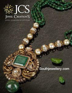 Emeralds Mala with Diamond Peacock Pendant - Indian Jewellery Designs Emerald Jewelry, Pearl Jewelry, Pendant Jewelry, Bridal Jewelry, Emerald Necklace, Pearl Choker, Gold Jewelry, India Jewelry, Bead Jewellery