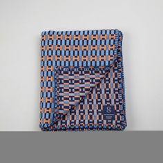 Geometric Woven Lambswool Blanket - Paperchain design in Orange, Pale Blue & Navy (Harbour)
