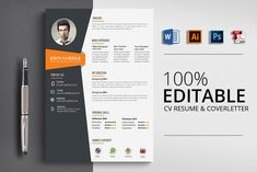 Ad: Word CV Resume Template by Psd Templates on CV/Resume Specification - CMYK Color Mode - 300 DPI Resolution -Size 3 mm bleed Features - Easily customization - Editable Text Resume Design Template, Business Plan Template, Cv Template, Creative Resume Templates, Psd Templates, Resume Words, Resume Cv, Resume Layout, Business Brochure