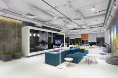 Playtech Office Space # Breakout # Visitor waiting # Exposed ceiling