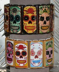 Bracelets bambou crânes mexicains
