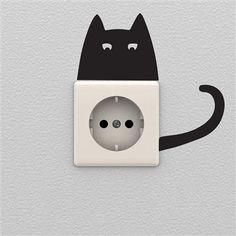 Ambiance Live - Sticker pour prise, H15xL20 cm [Chat]