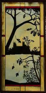 Copper overlay stained glass