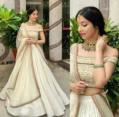 looking so beautiful in this outfit by Jewelry - Indian Lehenga, Indian Gowns, Indian Attire, Indian Ethnic Wear, Pakistani Dresses, Lehenga White, Indian Wedding Outfits, Indian Outfits, Indian Designer Outfits