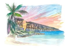 """Saatchi Art is pleased to offer the painting, """"Bahia Honda Golden Sunset With Rail Bridge,"""" by M Bleichner, available for purchase at $369 USD. Original Painting: Watercolor on Paper. Size is 7.9 H x 11.8 W x 0.4 in. Original Paintings For Sale, Original Artwork, Beautiful Artwork, Cool Artwork, Bahia Honda, Bridge Painting, Retro Poster, Impressionism Art, Watercolor Paintings"""