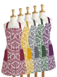 Chef Apron Printed Damask Adjustable Neck Strap & Waist 100% Cotton -11 Different Colors