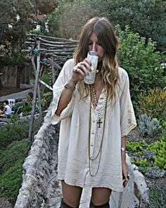 So in love with this dress, so chilled out and hippyish I NEED IT IN MY LIFE! shame idk where it's from:/ Milk, dress, cream, lace, fashion, grunge, hippy, boho, shirt, dress, kaftan, loose, pretty