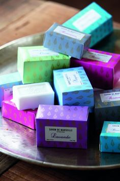 Perfect soap packaging for the soap bar's of Savon de Marseille, via House Doctor.