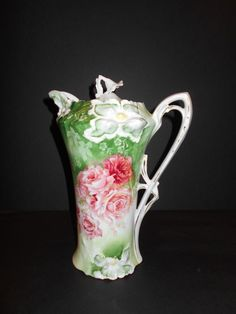 Vintage RS Prussia Pink Rose Hand Painted Chocolate Pot Raised Flowers Fine Cndn #RSPrussia
