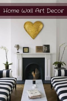 I absolutely love the look of this beautiful heart shaped piece of wall art on the wall.  I love gold home decor which is w why this gold decorative home accent is super cool.  I love the look of this room. Home Wall Art Decor - Home wall art decor by shape