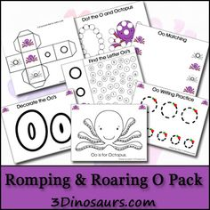 Today the Romping & Roaring ABC Pack to come out! Finally O is out in the Romping & Roaring ABC Packs! Preschool Letters, Preschool Curriculum, Preschool Printables, Preschool Activities, Homeschooling, Free Printables, Teaching The Alphabet, Learning Letters, Kids Learning
