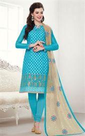 Picture of Elegnat Sky Blue Color Indian Salwar Kameez