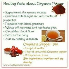 Healthy facts about Cayenne Pepper Healthy Facts, Healthy Tips, Healthy Recipes, Raw Recipes, Juice Recipes, Eat Healthy, Healthy Drinks, Health Diet, Fruit