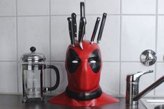 DIY Deadpool knife block holds all your stabby kitchen cutlery - CNET
