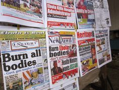 This photo shows the usual headlines in all the newspapers in Liberia.