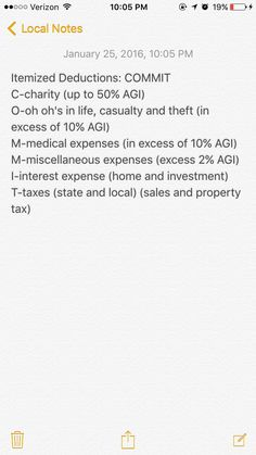 Mnemonic for Itemized Deductions Regulation CPA exam