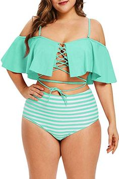 Lace Up Plus Size Striped Panel Bikini Set Plus Size Bikini Bottoms, Women's Plus Size Swimwear, Trendy Swimwear, Plus Size High Waisted Bikinis, Curvy Swimwear, Bikini Swimwear, Lace Bikini, Striped Bikini, Bikini Top